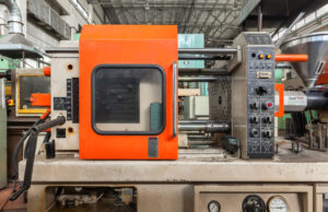 injection molding thermoplastic machine close up